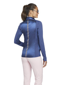 Slim fit Collared neckline with zip-front closure Full-length sleeves with satin and mesh Tape detailing at back Pockets at the hip Slightly extended length hits just below the waist Wrinkle-free signature stretch fabric Imported: 60% Polyester / 40% Nylon Trim: 90% Polyester / 10% Spandex