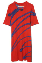 Load image into Gallery viewer, Red and blue painted A-line shift dress Crew neckline Short sleeves Hand wash Loose fitting, size down for a more tailored fit 100% Cotton