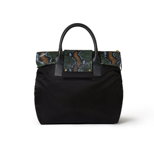 Alessia Large Nylon Tote Black / Wild Green Python