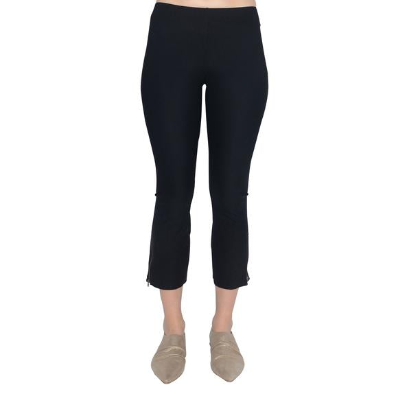 Pull on pants with elastic waist Fitted with slight boot cut Zipper Trim detail Available in Black and Taupe Inseam 25