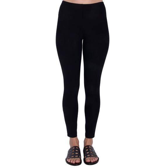 Pull on pants with elastic waist Zipper trim detail Available in Black and Taupe Inseam 26