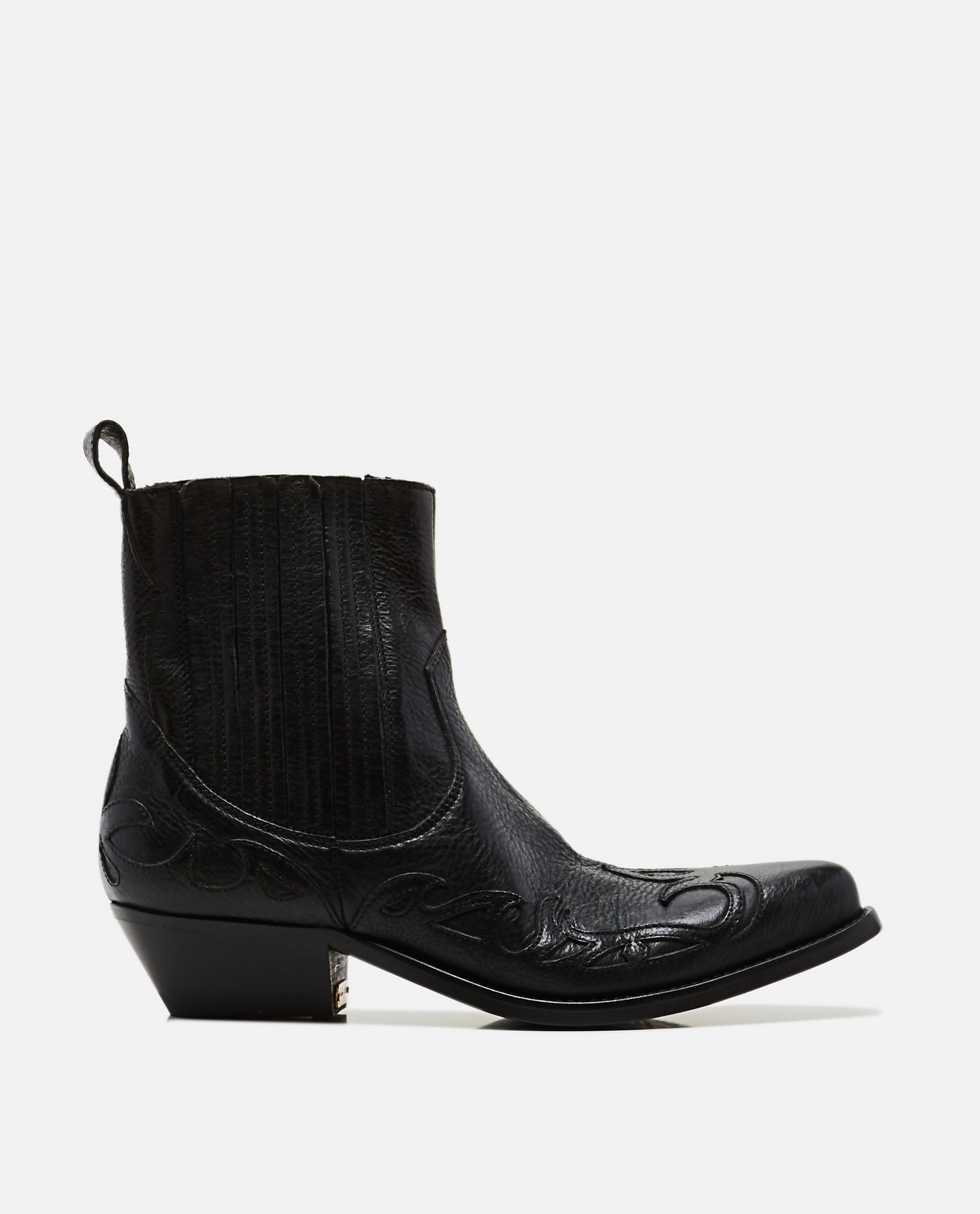 Santiago Leather and Suede Black Boots