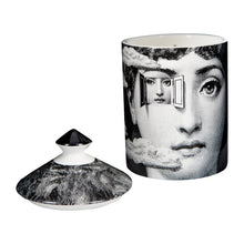 Load image into Gallery viewer,  Scented candle Fragrance notes: thyme, lavender, cedarwood, incense, birch, labdanum Dimensions: H15xØ11cm Burn time: up to 60 hours Size: 300g Features the enigmatic face of Lina Cavalieri 100% vegetable-based wax Pure cotton wick is biodegradable Allergen free & contains no pesticides