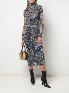 Long Sleeve T-Neck Printed Midi Dress