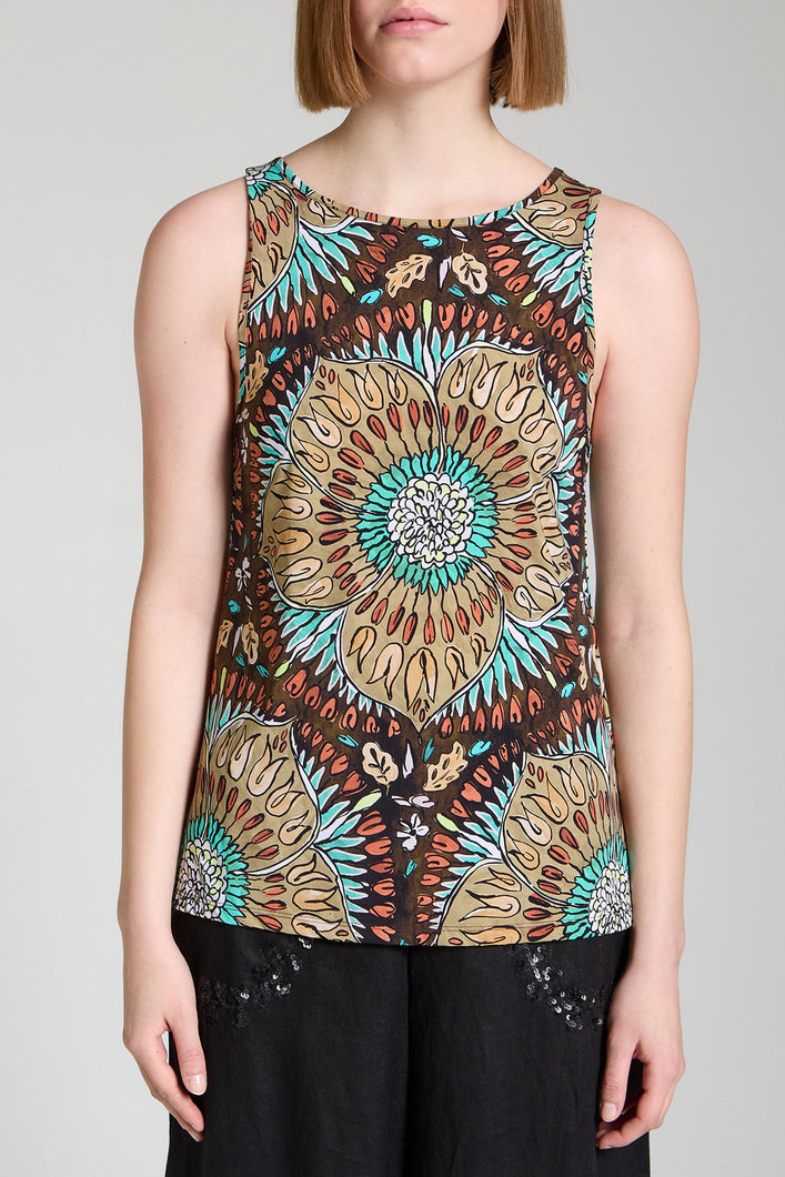 V-neck top in soft, weightless printed jersey.
