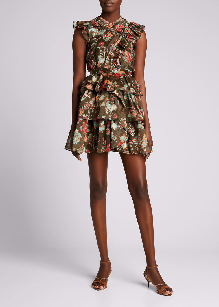 Featured in look 17 from our Spring 2021 runway presentation. The Sarafina Dress is crafted from our lightweight yet structured cotton silk organza fabrication in an unexpected dark olive and deep rose bouquet floral print. This sexy mini dress silhouette is adorned in feminine details including a pleated criss-cross neckline, layered ruffled skirt, and flutter sleeves. Side zipper closure. Composition: 79% Cotton, 21% Silk.