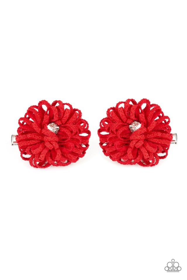 Peppy in Petunias Red Hair Clip
