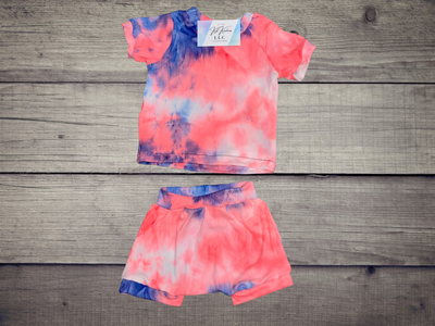 Blue & Pink Tie-Dye Set With Harem Shorts - Kid Kreations LLC