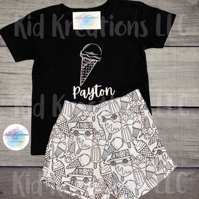 Ice-Cream Set W/ Color Me Shorts - Kid Kreations LLC