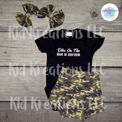 Dibs On The Man In Uniform 3 Piece Set - Kid Kreations LLC
