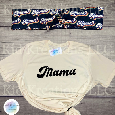 Mama T-Shirt & Twisted Head Band - Kid Kreations LLC