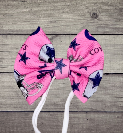 Pink & Blue Bow With Nylon Head Band OR Alligator Clip - Kid Kreations LLC