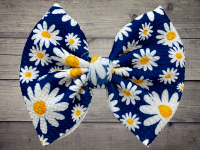 Daisies Bow With Nylon Head Band OR Alligator Clip - Kid Kreations LLC