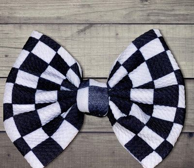 Checkered Bow With Nylon Head Band OR Alligator Clip - Kid Kreations LLC