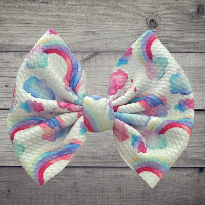 Cloudy Day Bow With Nylon Head Band OR Alligator Clip - Kid Kreations LLC