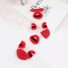 Load image into Gallery viewer, SHEER RED LIP SOCKS