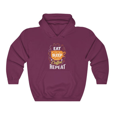 Unisex Eat Sleep Coffee Repeat Hooded Coffee Sweatshirt - ThePopCoffee