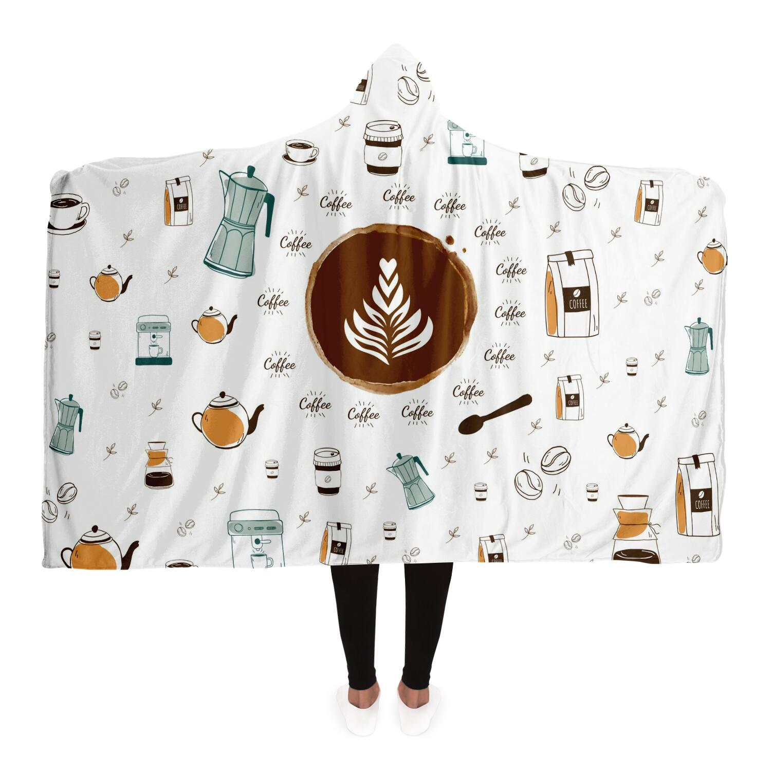 Unisex Coffee Hooded Blanket - ThePopCoffee
