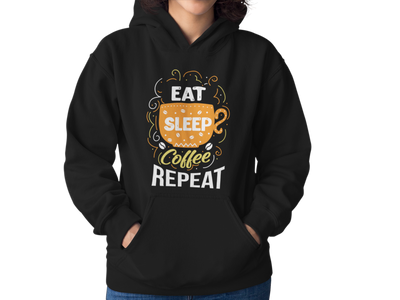 Unisex Eat Sleep Coffee Repeat W Hooded Coffee Sweatshirt - ThePopCoffee