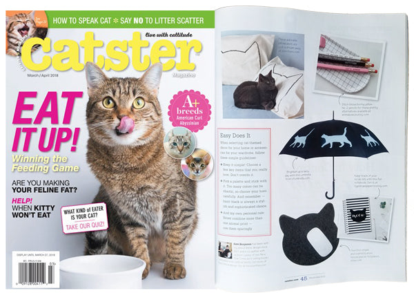 "Xenotees' Cat Nap Pillowcases are featured in the Catster Magazine article, ""Cat Decor Ideas and Tips From a Pro"""