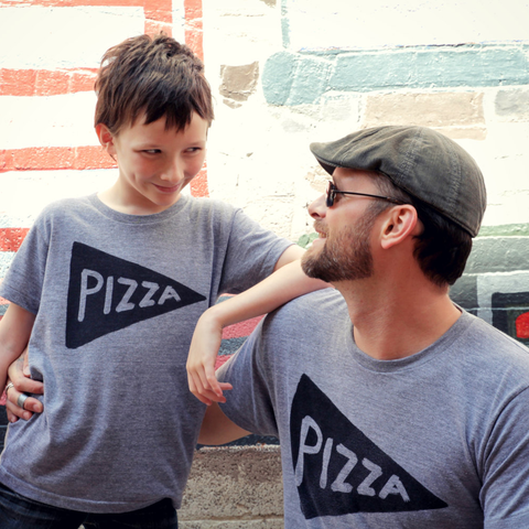 Matching Father Son Pizza Tees as seen on Pee-Wee Herman's Blog!