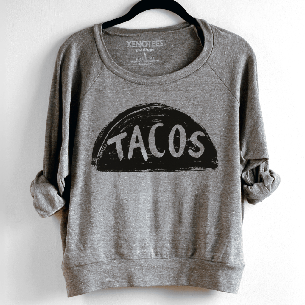 Womens Taco Tuesday Pullover Sweatshirt by Xenotees