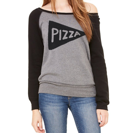 Womens Wide Neck Pizza Pullover Sweatshirt by Xenotees