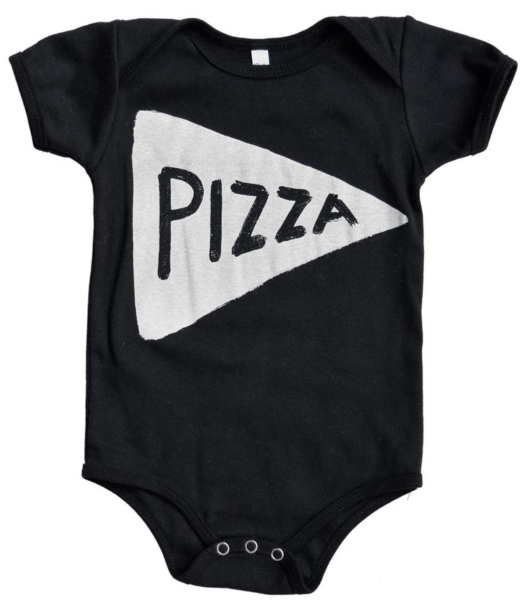Pizza Baby Onesie in Black by Xenotees