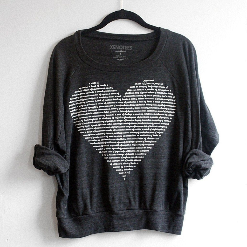 Womens Animal Collective Group Names Heart Sweatshirt by Xenotees