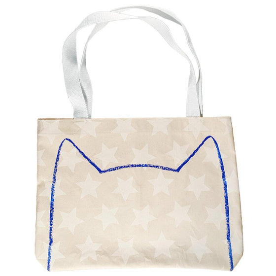 Starry Cat Canvas Market Tote Bag by Xenotees