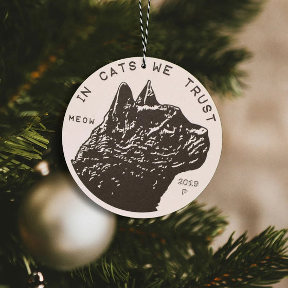 2019 Cat Coin Christmas Ornament by Xenotees