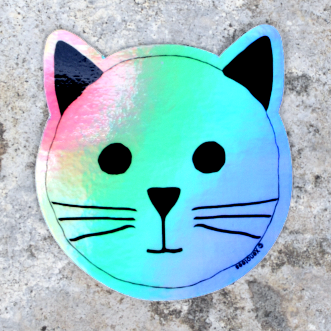 Rainbow Holographic Cat Sticker