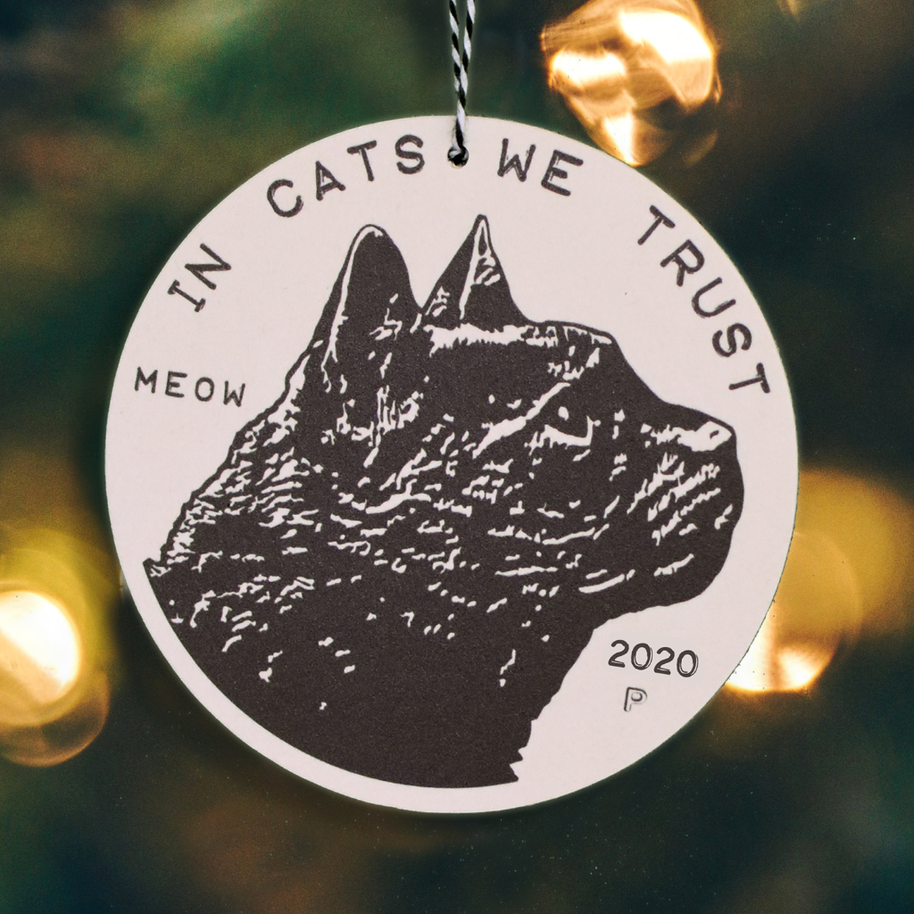 2020 Cat Coin Christmas Ornament