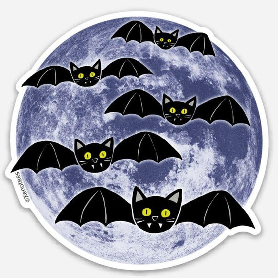 Halloween Cat Bat Moon Sticker