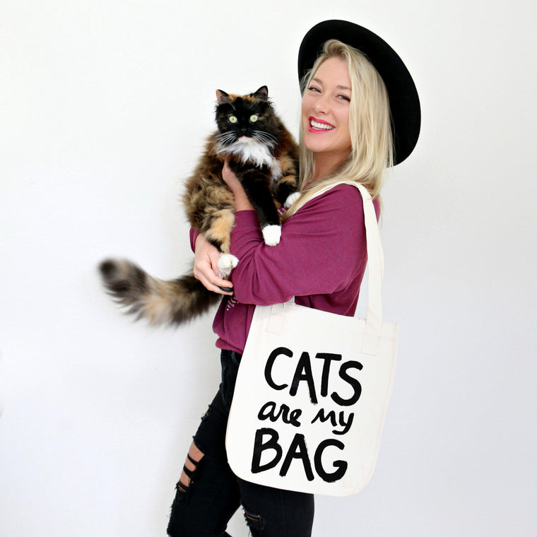 Organic Cats Are My Bag Market Tote - Natural by Xenotees