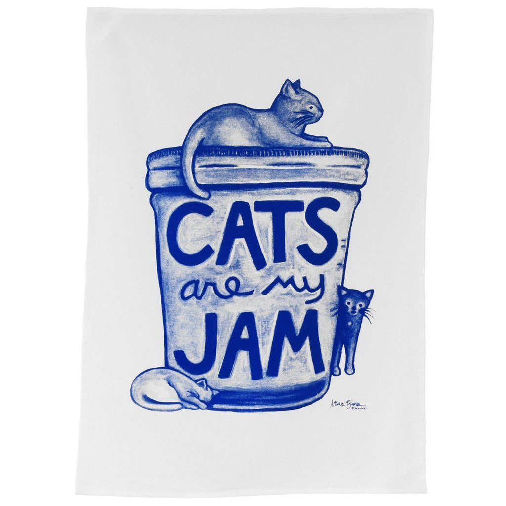 Cat Lover Mason Jar Humor Gift for Teachers - Cats are my Jam Tea Towel