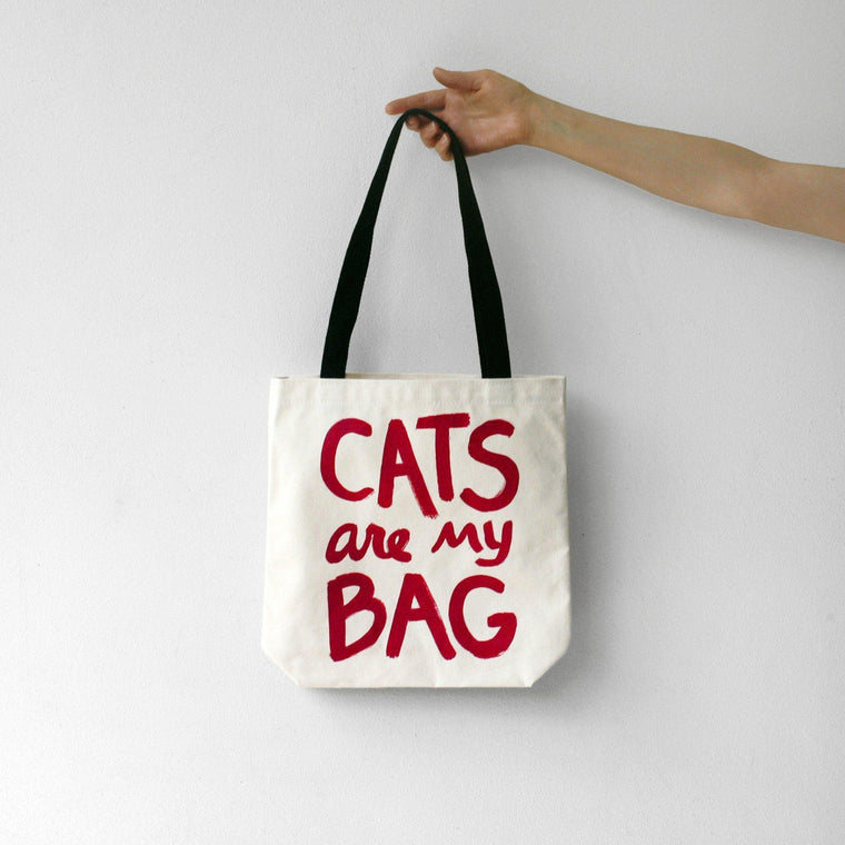 Cats Are My Bag Tote - Red by Xenotees
