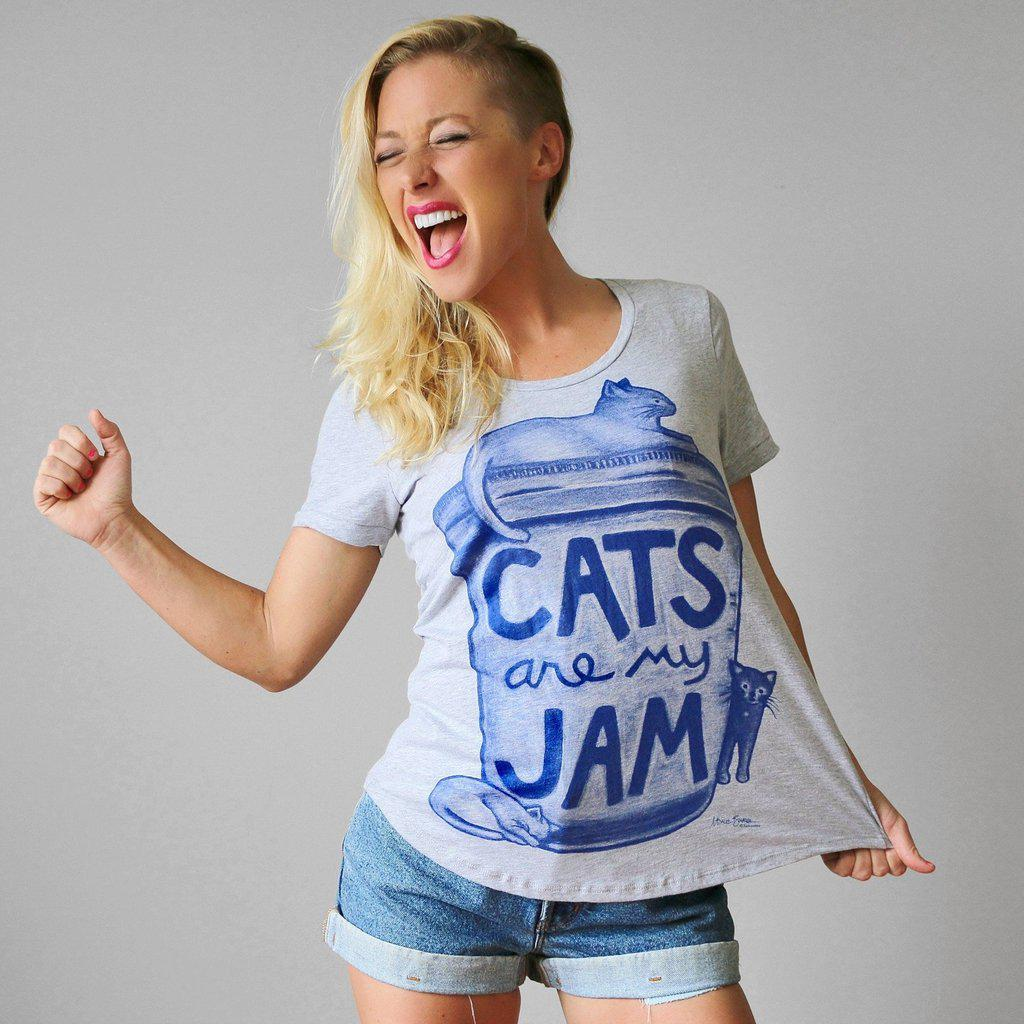 Womens Cats are my Jam T shirt - Limited Edition by Xenotees