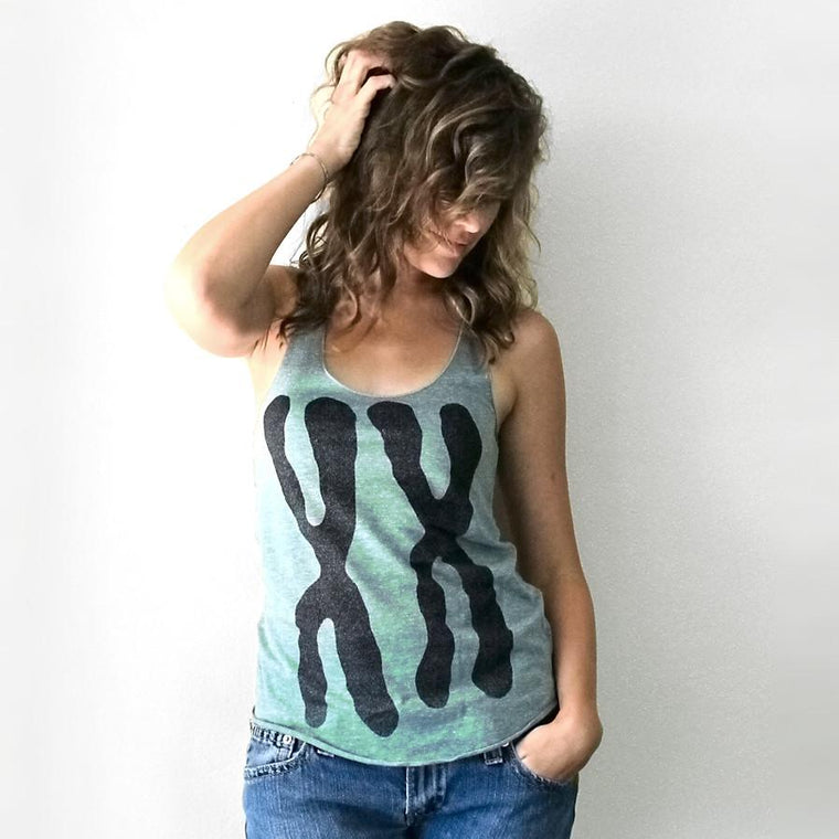 Womens XX Tank Top T-shirt in Mint Green by Xenotees