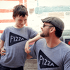 Father Child Matching Pizza Slice TShirts / Black by Xenotees