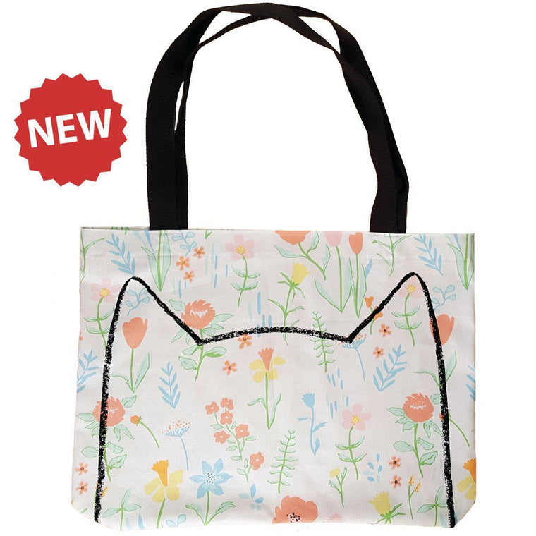 Floral Cat Market Tote Bag by Xenotees