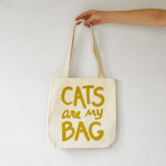 Cats Are My Bag Tote - Gold by Xenotees