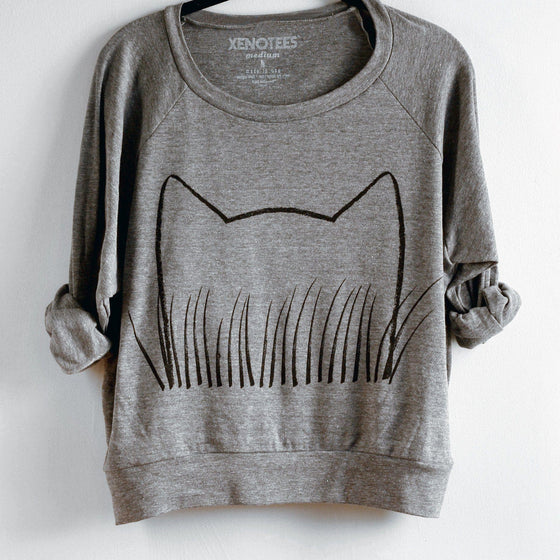 Womens Cat Grass Sweatshirt by Xenotees