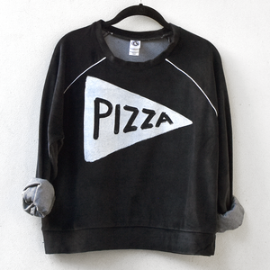 Ladies Velour Pizza Crop Top Sweatshirt