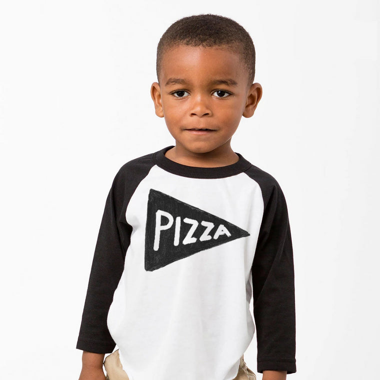Kids Pizza Baseball Jersey T Shirt by Xenotees