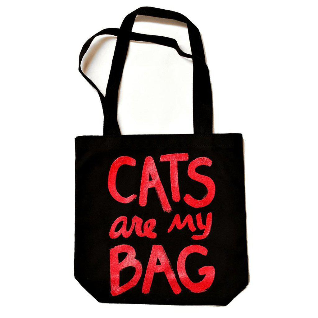 Cats Are My Bag Tote - Black & Red by Xenotees