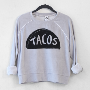 Ladies Velour Taco Crop Top Sweatshirt