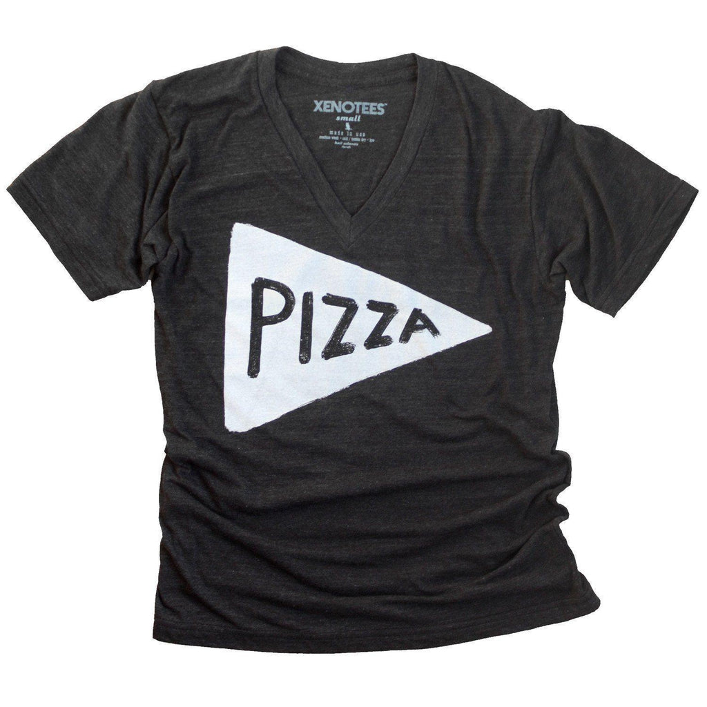 Unisex Vneck Pizza T-shirt by Xenotees