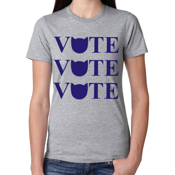 Cool Cats Vote Women's Heather Gray Tee
