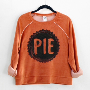 Ladies Velour PIE Crop Top Sweatshirt